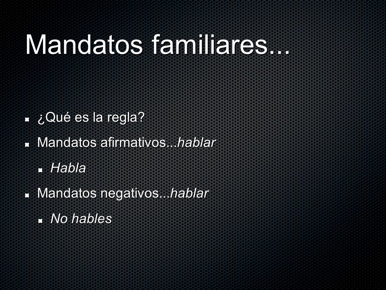 Mandatos familiares... ¿Qué es la regla Mandatos afirmativos...hablar