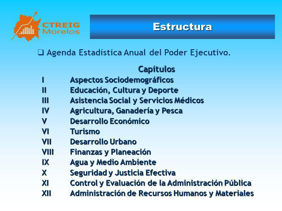 Estructura Capítulos Agenda Estadística Anual del Poder Ejecutivo.