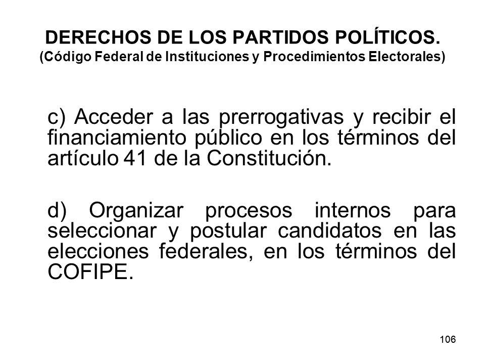DERECHOS DE LOS PARTIDOS POLÍTICOS