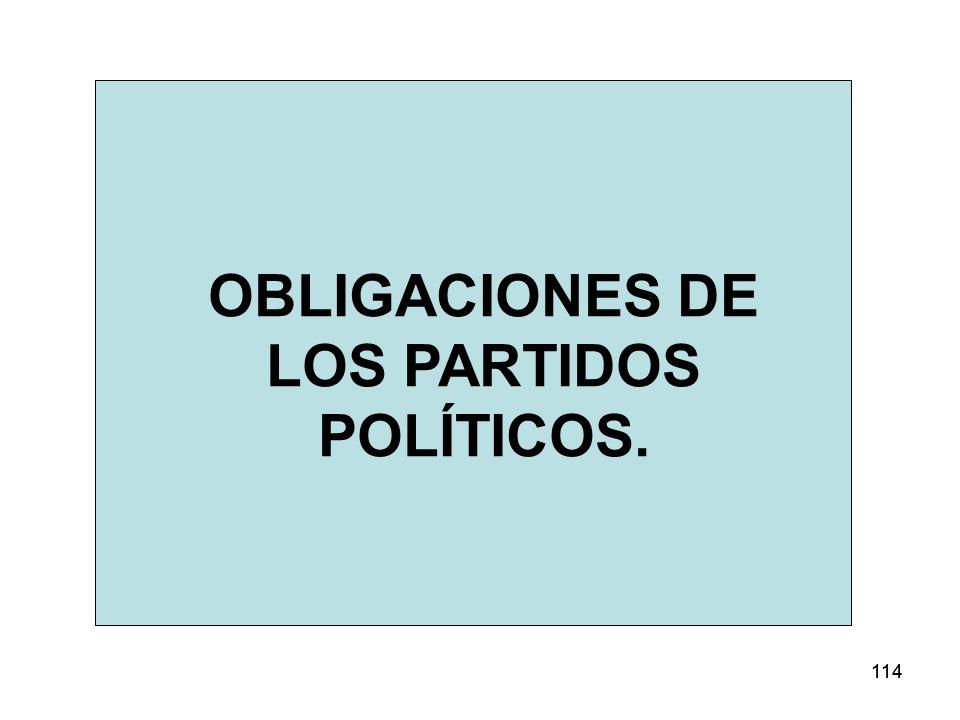 OBLIGACIONES DE LOS PARTIDOS POLÍTICOS.