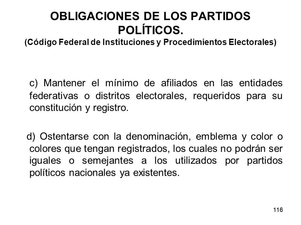 OBLIGACIONES DE LOS PARTIDOS POLÍTICOS