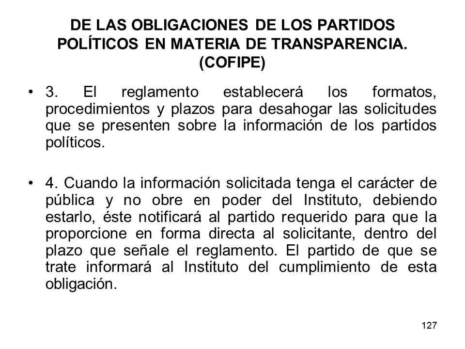 DE LAS OBLIGACIONES DE LOS PARTIDOS POLÍTICOS EN MATERIA DE TRANSPARENCIA. (COFIPE)