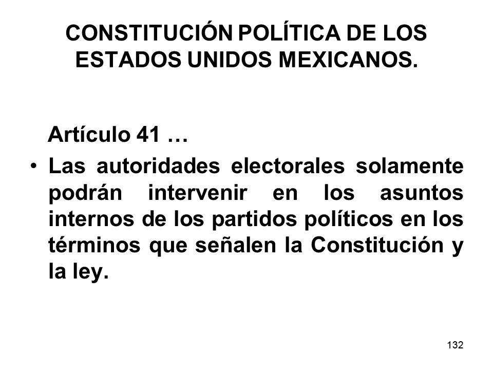 CONSTITUCIÓN POLÍTICA DE LOS ESTADOS UNIDOS MEXICANOS.