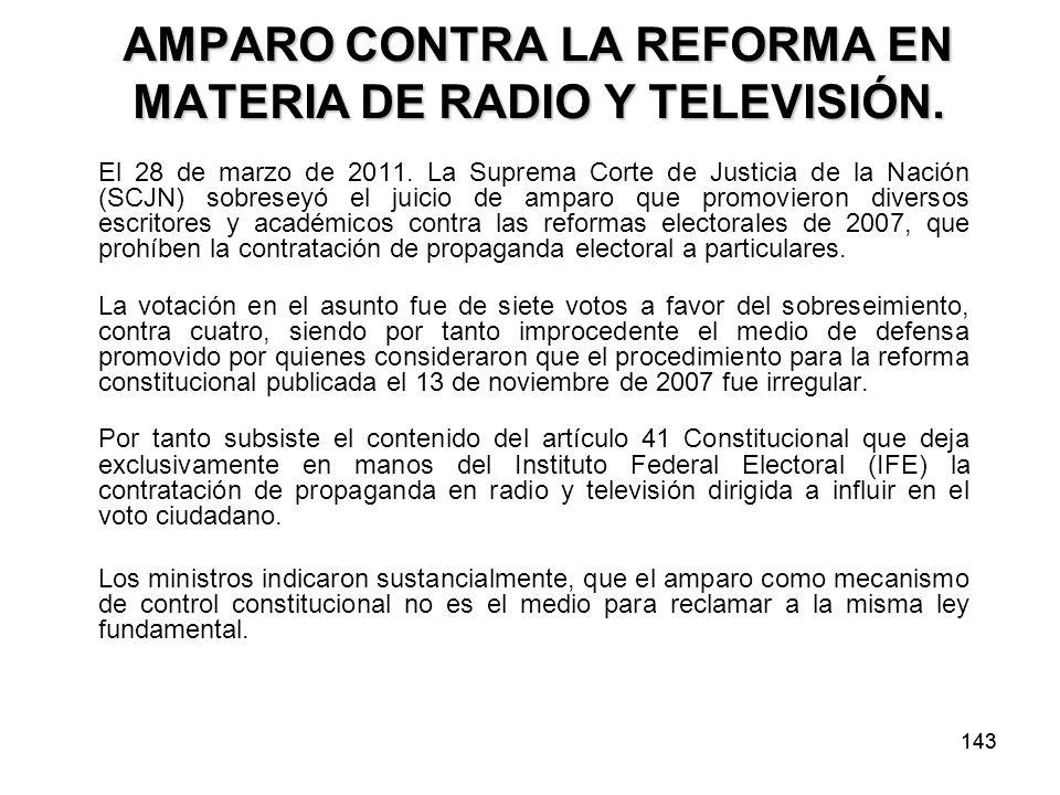 AMPARO CONTRA LA REFORMA EN MATERIA DE RADIO Y TELEVISIÓN.