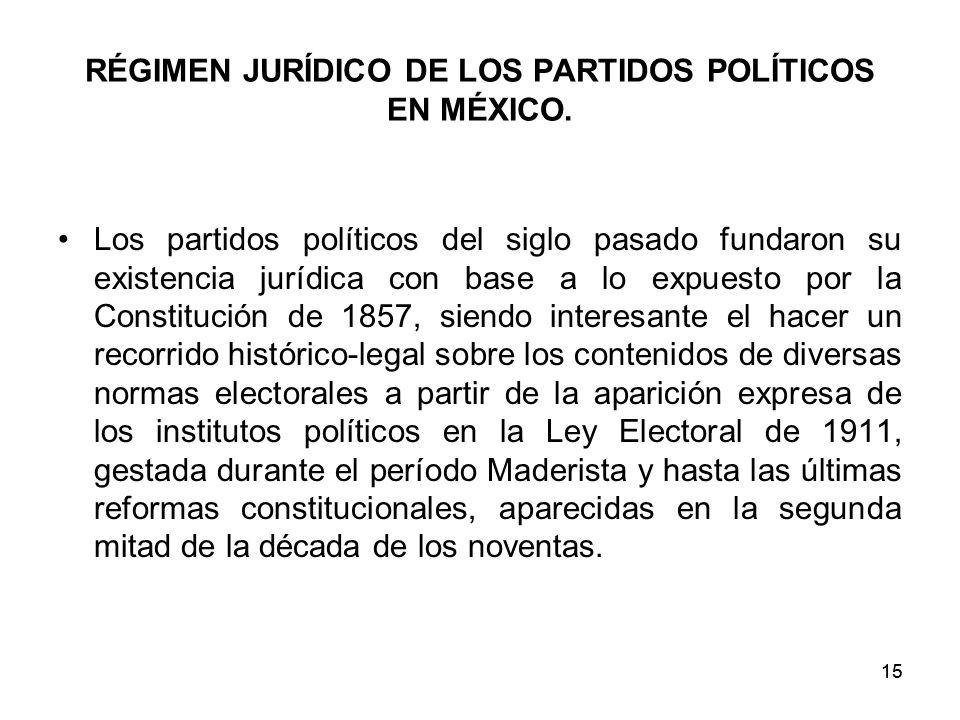 RÉGIMEN JURÍDICO DE LOS PARTIDOS POLÍTICOS EN MÉXICO.
