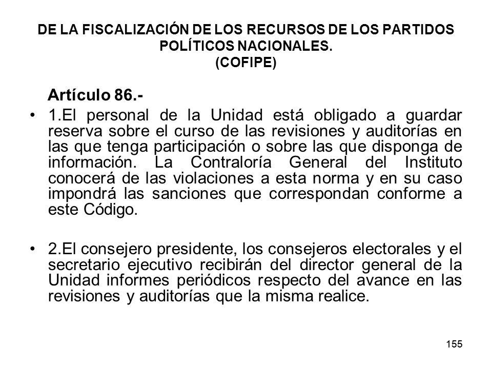DE LA FISCALIZACIÓN DE LOS RECURSOS DE LOS PARTIDOS POLÍTICOS NACIONALES. (COFIPE)