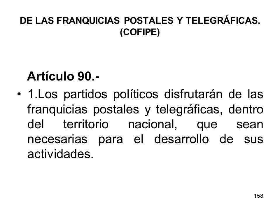 DE LAS FRANQUICIAS POSTALES Y TELEGRÁFICAS. (COFIPE)