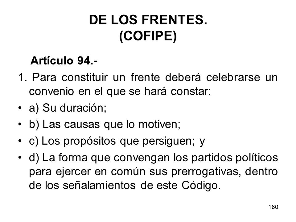 DE LOS FRENTES. (COFIPE)