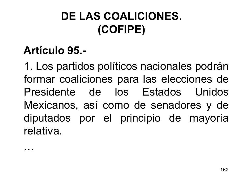 DE LAS COALICIONES. (COFIPE)