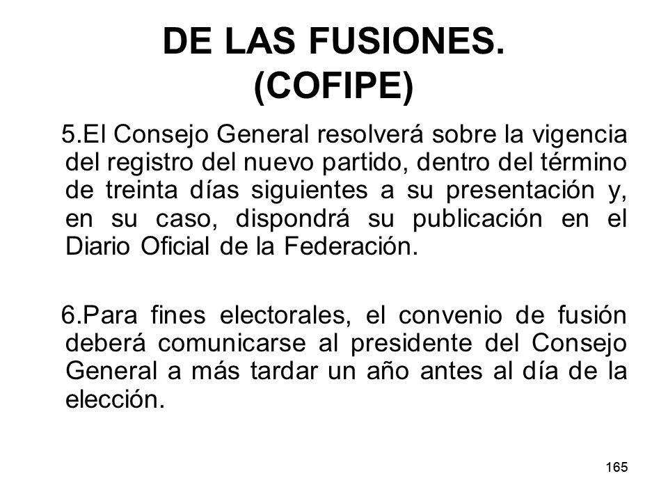 DE LAS FUSIONES. (COFIPE)