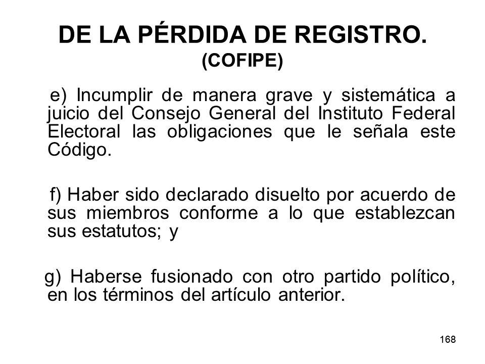 DE LA PÉRDIDA DE REGISTRO. (COFIPE)