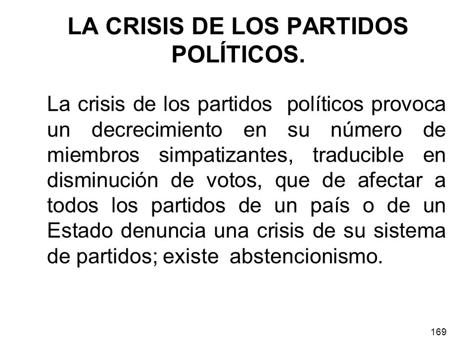 LA CRISIS DE LOS PARTIDOS POLÍTICOS.