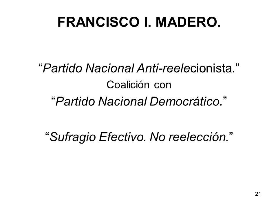 FRANCISCO I. MADERO. Partido Nacional Anti-reelecionista.