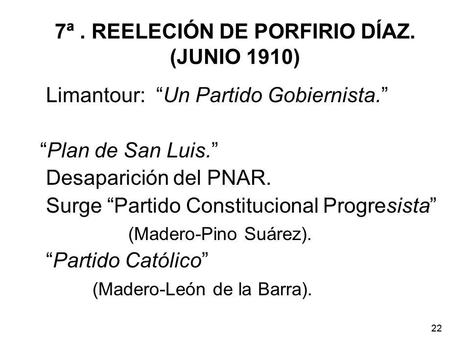 7ª . REELECIÓN DE PORFIRIO DÍAZ. (JUNIO 1910)
