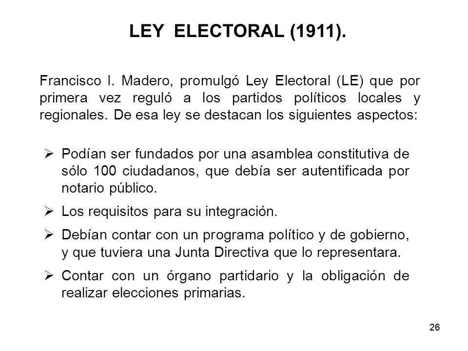 LEY ELECTORAL (1911).
