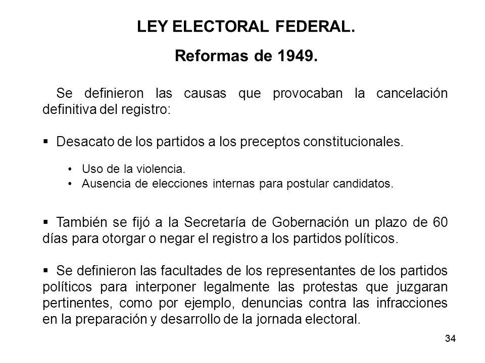 LEY ELECTORAL FEDERAL. Reformas de 1949.