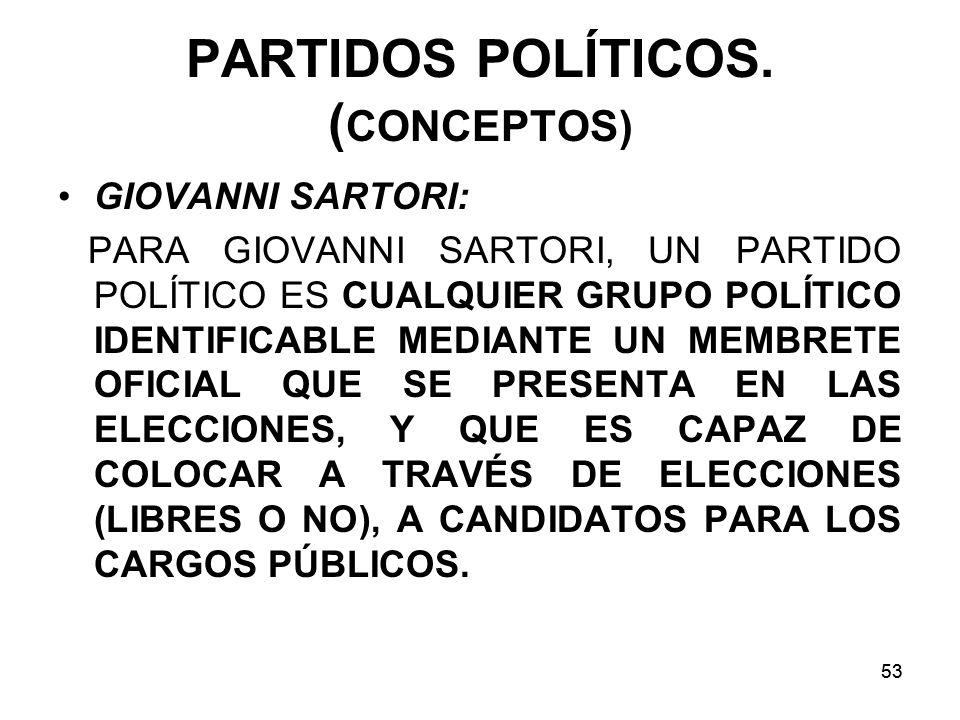 PARTIDOS POLÍTICOS. (CONCEPTOS)