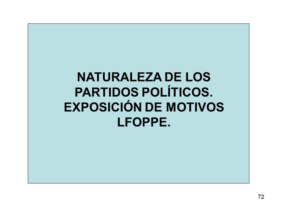 NATURALEZA DE LOS PARTIDOS POLÍTICOS. EXPOSICIÓN DE MOTIVOS LFOPPE.