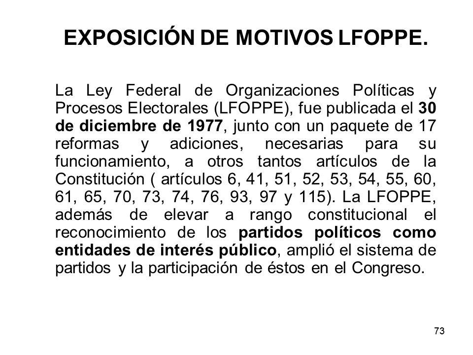 EXPOSICIÓN DE MOTIVOS LFOPPE.