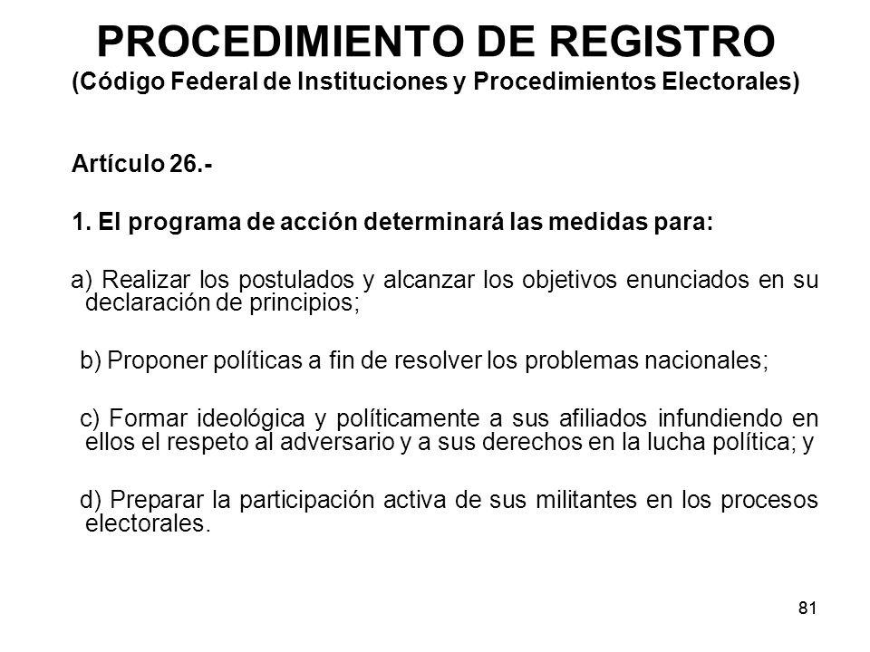 PROCEDIMIENTO DE REGISTRO (Código Federal de Instituciones y Procedimientos Electorales)