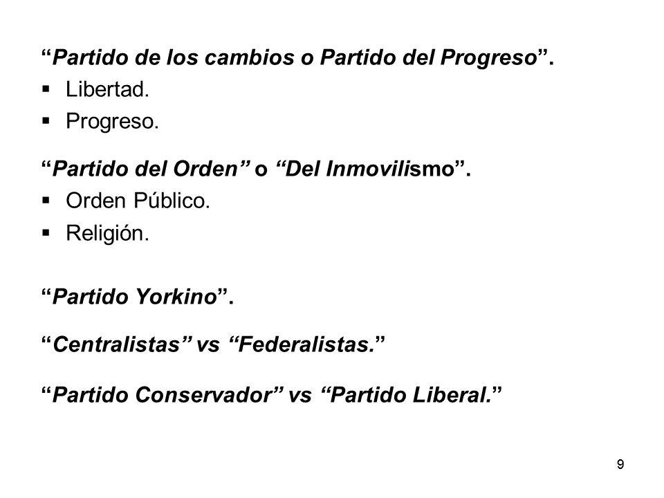 Partido de los cambios o Partido del Progreso . Libertad. Progreso.
