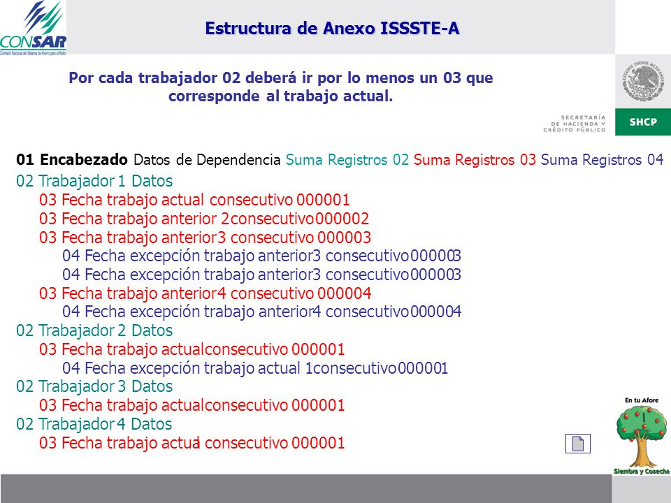 Estructura de Anexo ISSSTE-A