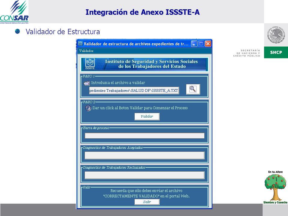 Integración de Anexo ISSSTE-A
