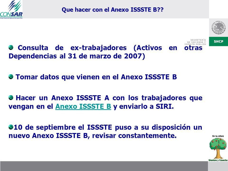 Que hacer con el Anexo ISSSTE B