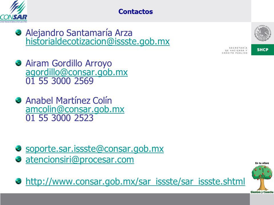 Alejandro Santamaría Arza historialdecotizacion@issste.gob.mx
