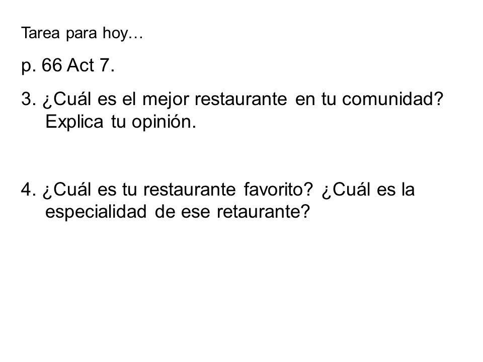 3. ¿Cuál es el mejor restaurante en tu comunidad Explica tu opinión.