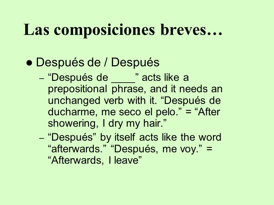 Las composiciones breves…