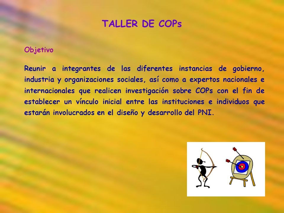 TALLER DE COPs Objetivo