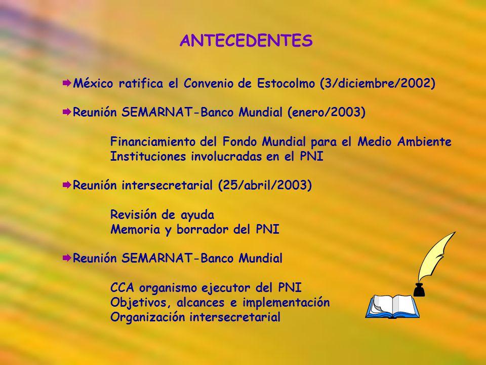 ANTECEDENTES México ratifica el Convenio de Estocolmo (3/diciembre/2002) Reunión SEMARNAT-Banco Mundial (enero/2003)