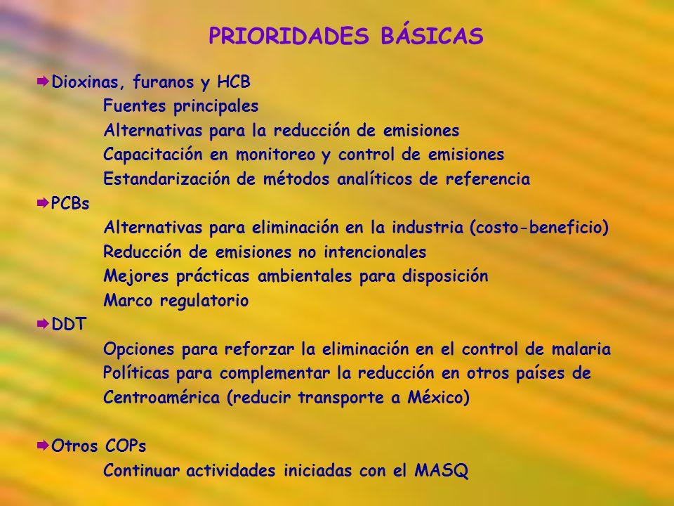 PRIORIDADES BÁSICAS Dioxinas, furanos y HCB Fuentes principales