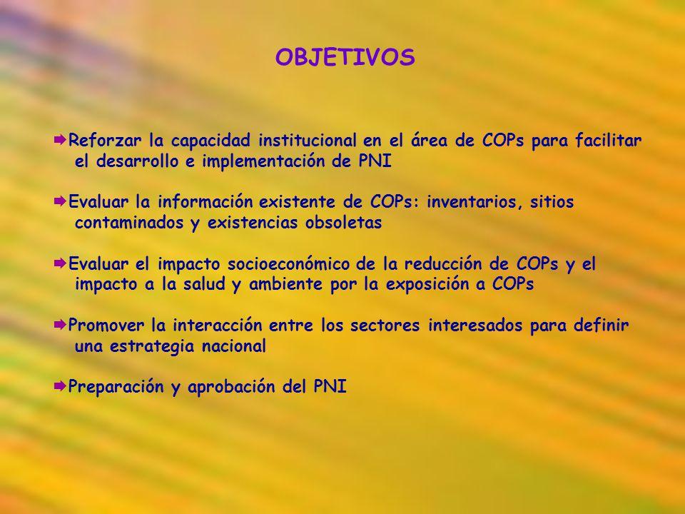 OBJETIVOS Reforzar la capacidad institucional en el área de COPs para facilitar. el desarrollo e implementación de PNI.