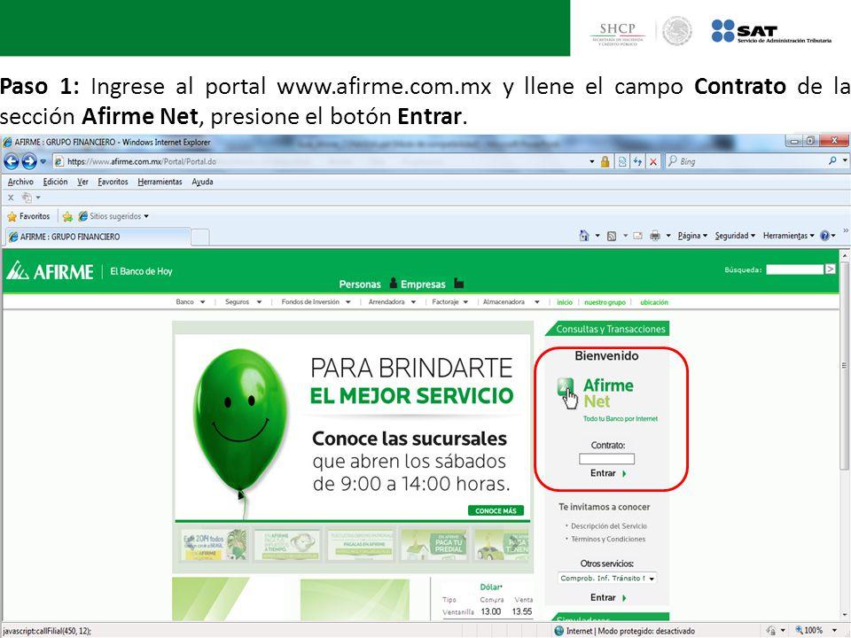 Paso 1: Ingrese al portal www. afirme. com
