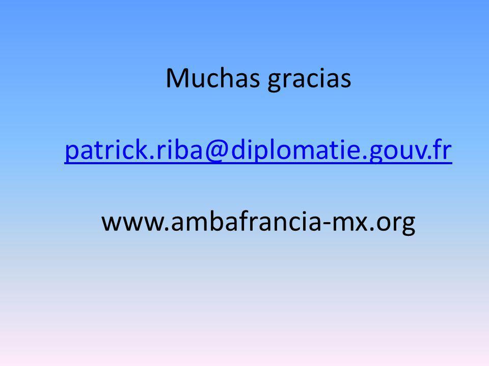 Muchas gracias patrick.riba@diplomatie.gouv.fr www.ambafrancia-mx.org