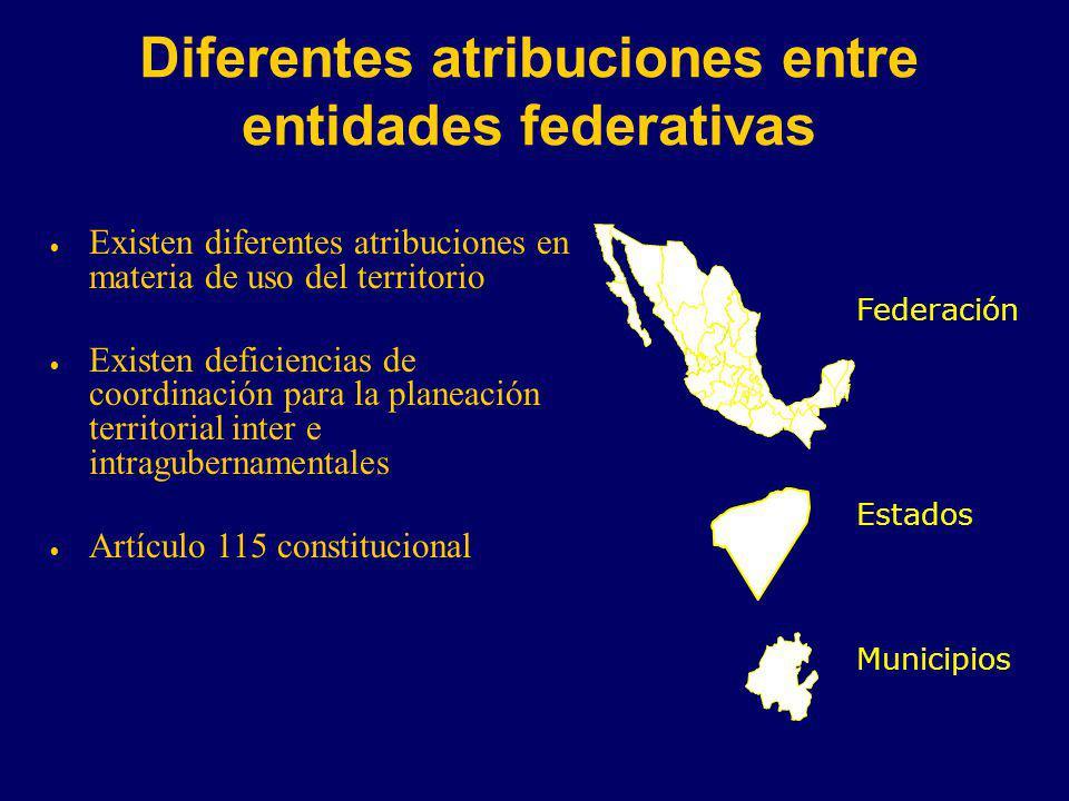 Diferentes atribuciones entre entidades federativas