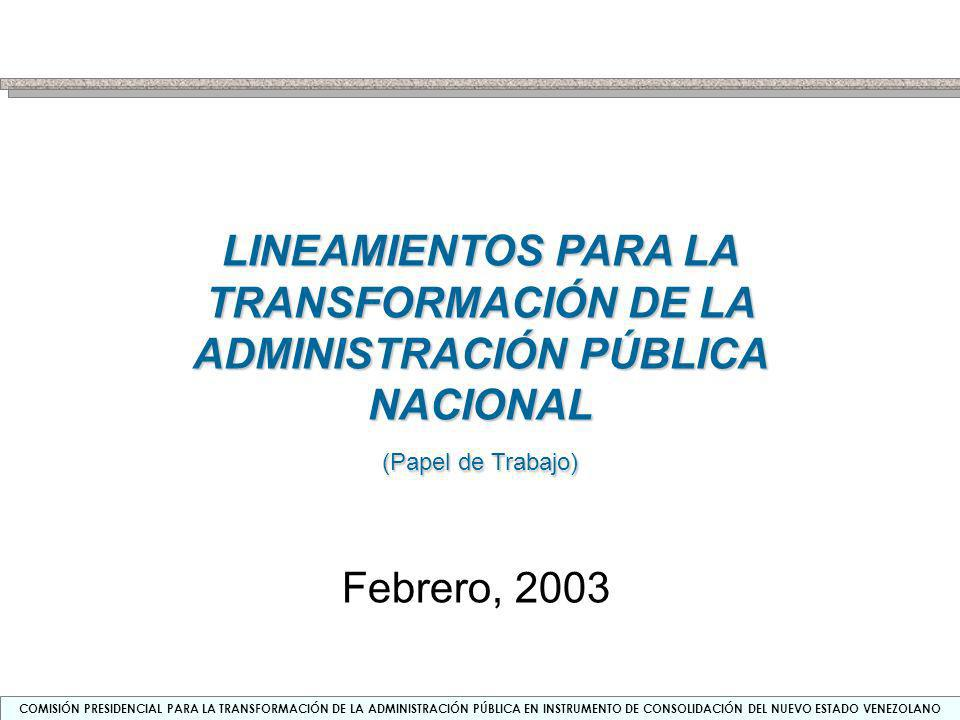 LINEAMIENTOS PARA LA TRANSFORMACIÓN DE LA ADMINISTRACIÓN PÚBLICA NACIONAL