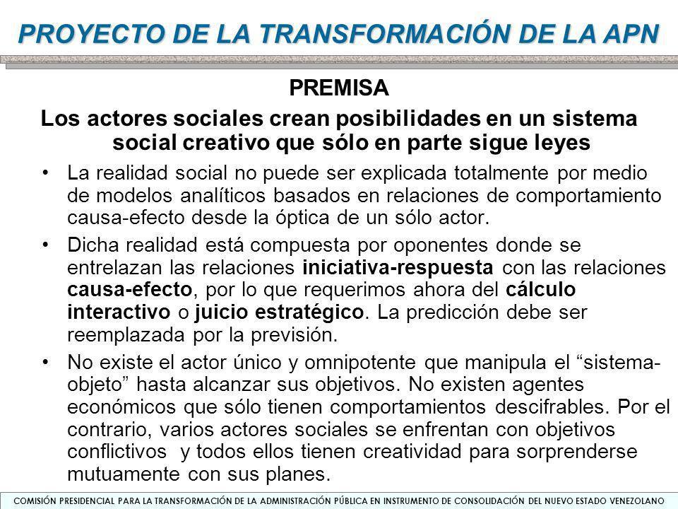PREMISA Los actores sociales crean posibilidades en un sistema social creativo que sólo en parte sigue leyes.