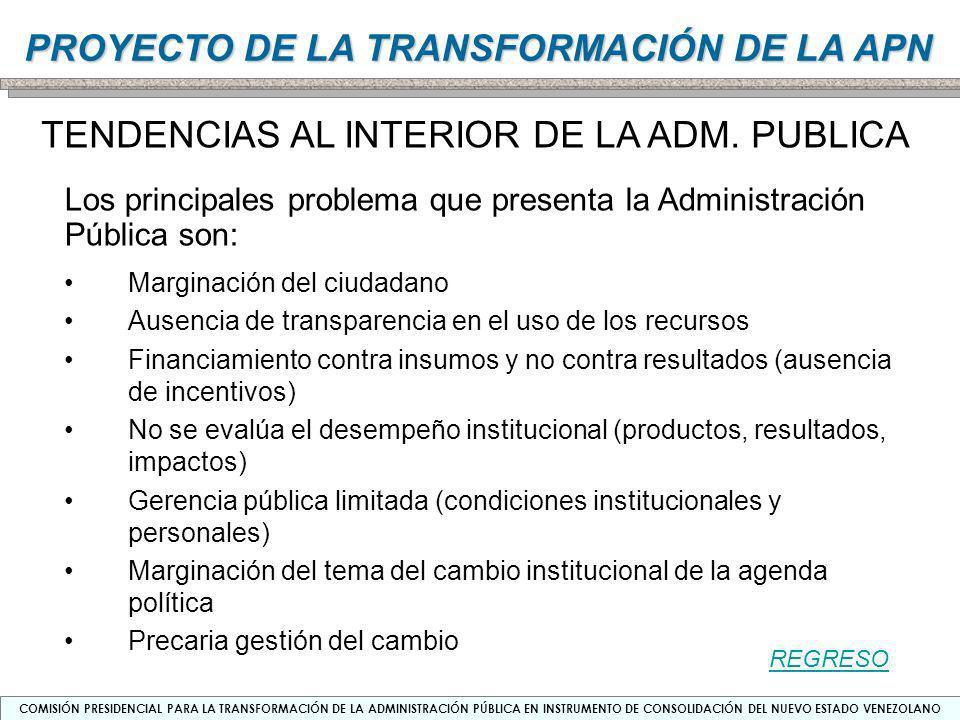 TENDENCIAS AL INTERIOR DE LA ADM. PUBLICA