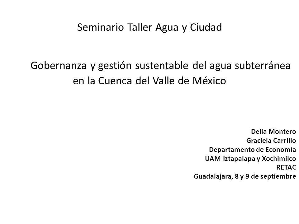 Seminario Taller Agua y Ciudad Gobernanza y gestión sustentable del agua subterránea en la Cuenca del Valle de México