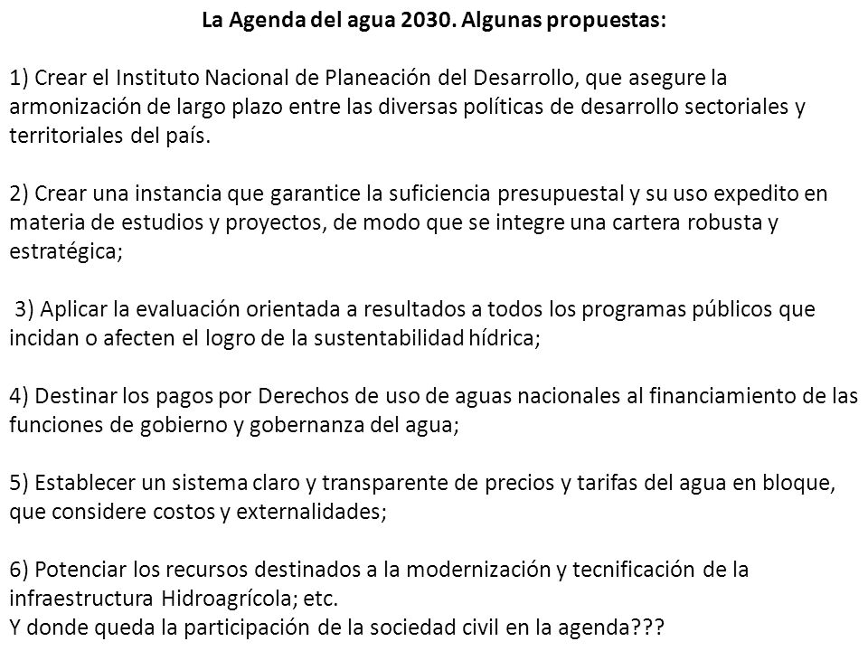 La Agenda del agua 2030. Algunas propuestas: