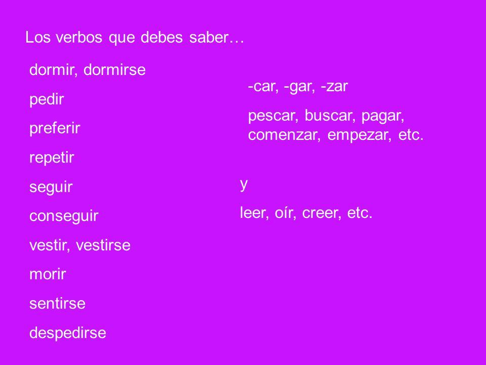 Los verbos que debes saber…