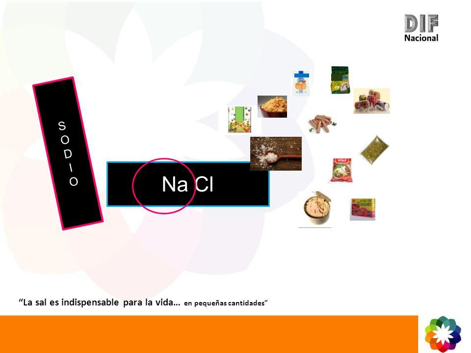 S O D I Na Cl La sal es indispensable para la vida… en pequeñas cantidades