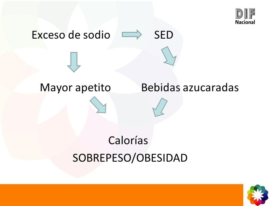 Exceso de sodio SED Mayor apetito Bebidas azucaradas.