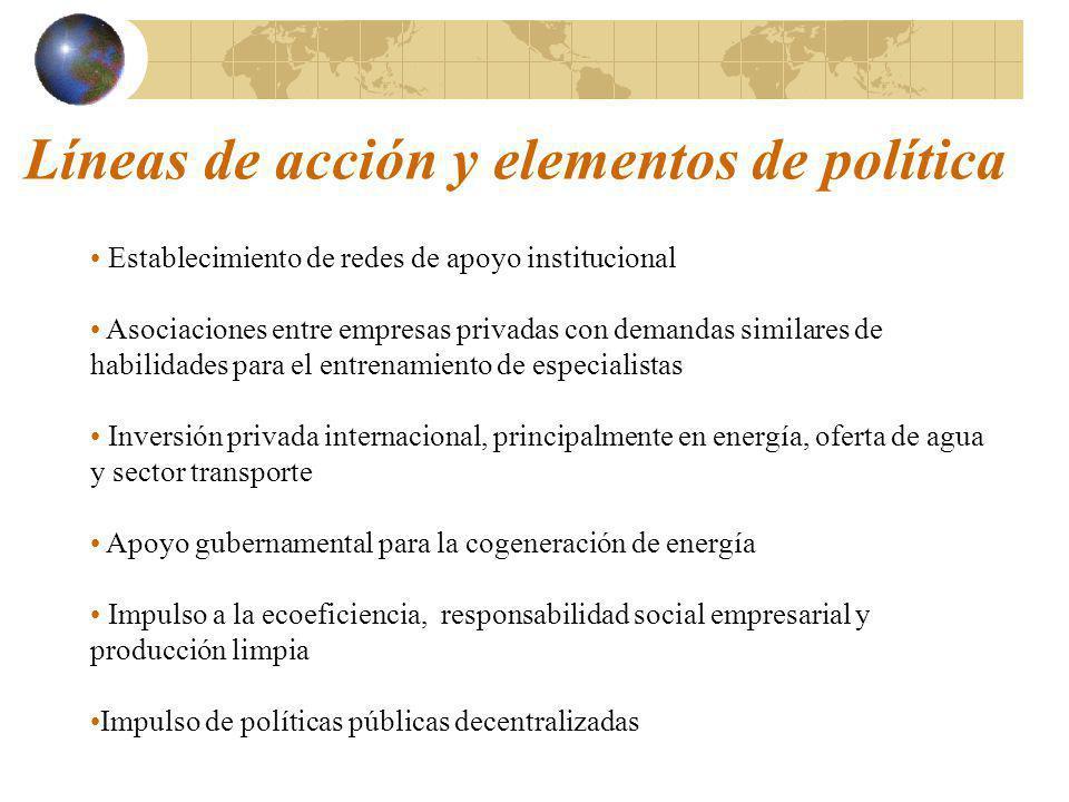 Líneas de acción y elementos de política
