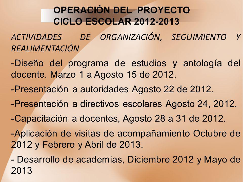 OPERACIÓN DEL PROYECTO CICLO ESCOLAR 2012-2013