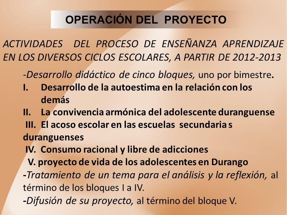 OPERACIÓN DEL PROYECTO