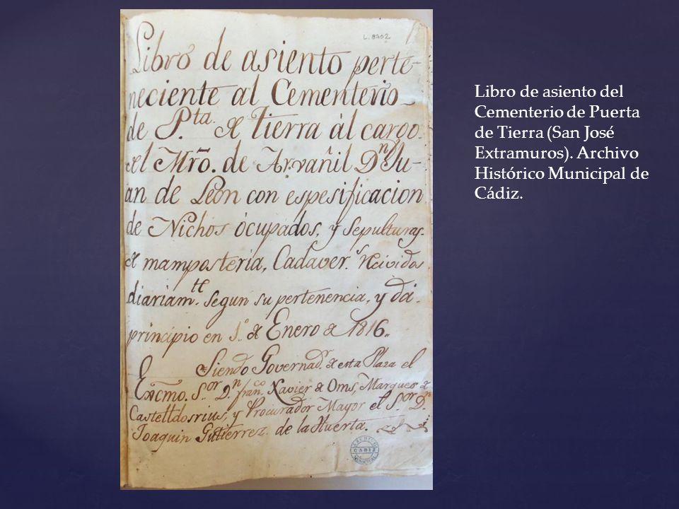 Libro de asiento del Cementerio de Puerta de Tierra (San José Extramuros).